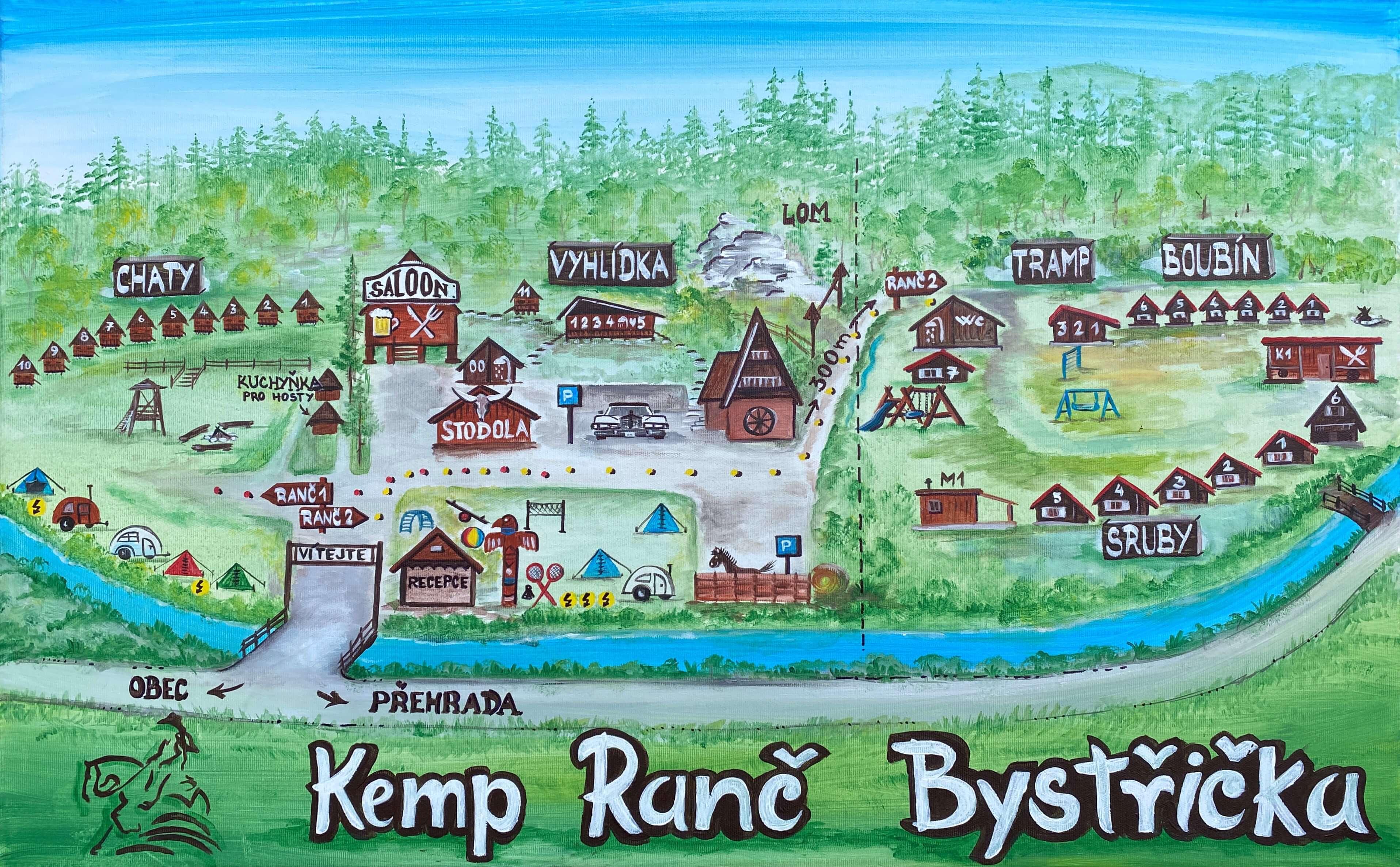 Mapa areálu Kemp Ranč Bystřička